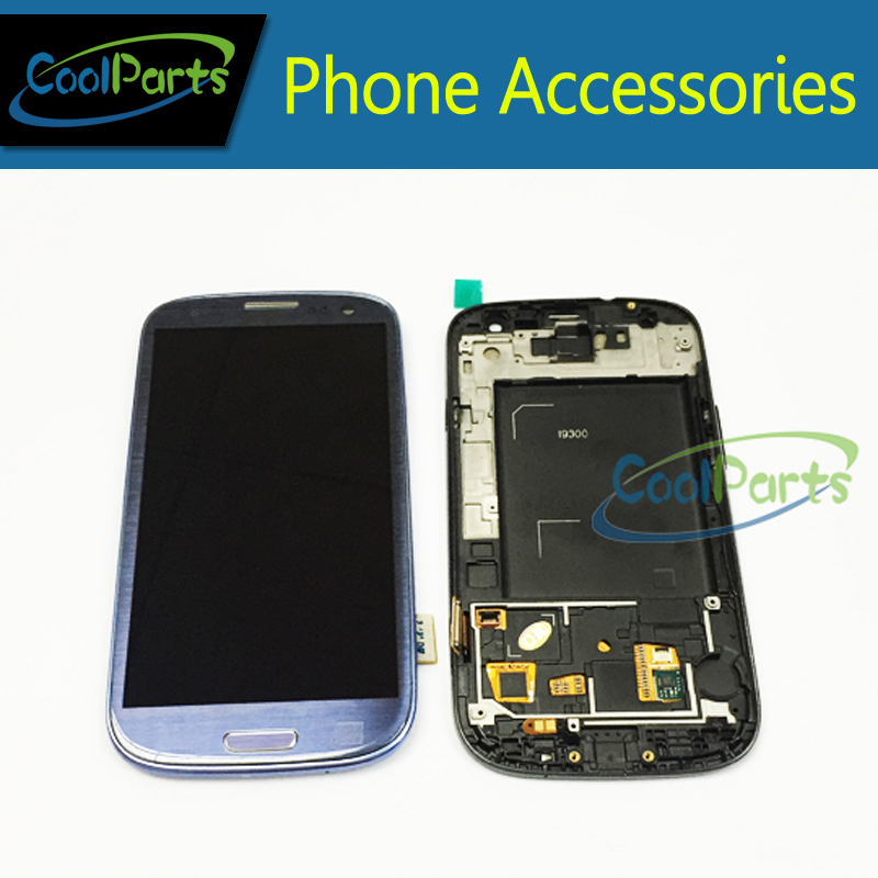 Blue Color LCD Display and Touch Screen Digitizer With Frame For Samsung Galaxy S3 GT-i9300 i9300 4.80 Free DHL EMS 10PCS/Lot