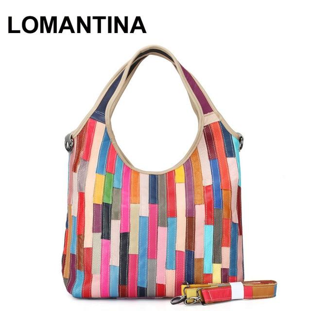 Women Handbag High Quality Casual Ol Hobos Lady Purse Patchwork Handbags Striped Tote Shoulder Bag Colorful