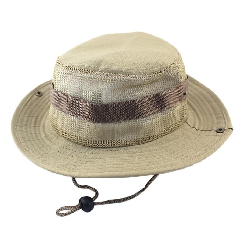 new Bucket Hats Adult Flat Top Round Folding Brim Sunshade Breathable Mesh Cowboy Fisherman Cap Apparel Accessories