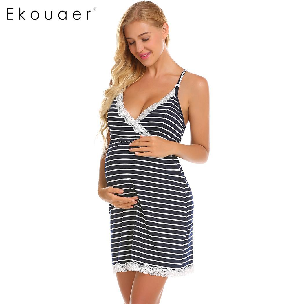 Ekouaer Women Nightgowns Nursing Breastfeeding Night Dress Sleepwear V-Neck Spaghetti Strap Striped Sleep Dress Female Nightie