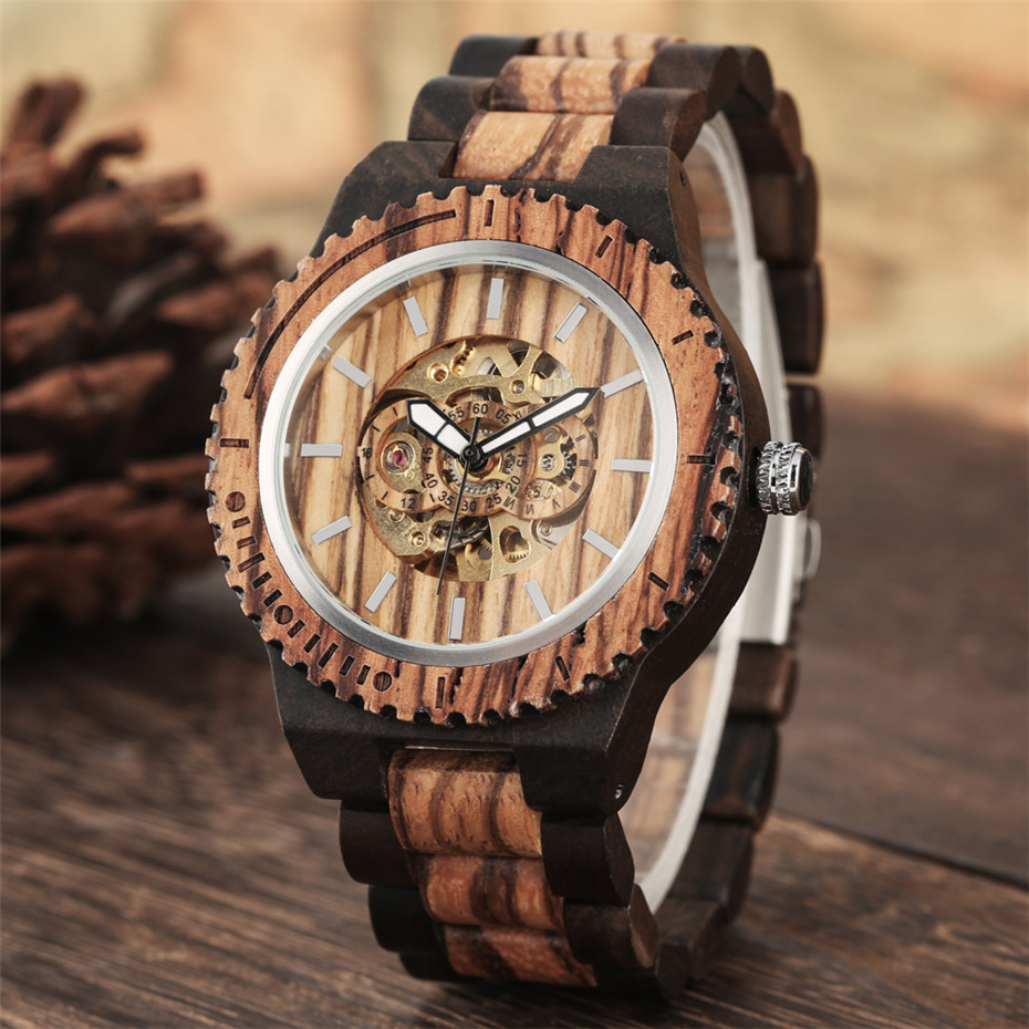 Automatic Mechanical Men Watch Wooden Watches Luxury Mens Wood Watchband Creative New Self Winding Male Timepieces reloj