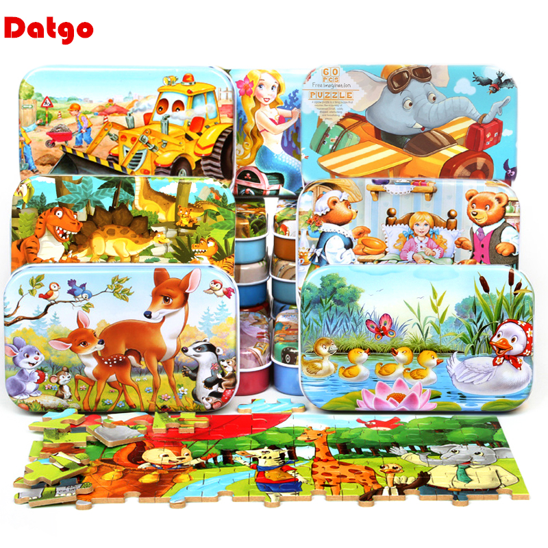 60 Pieces Wooden Puzzle Toys with Iron Box Kids Cartoon Animal Wood Puzzles Educational Toys for Children Christmas Gift(China)