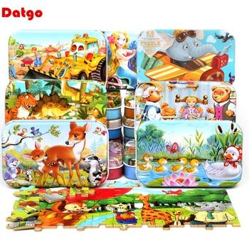 Деревянные пазлы с железной коробкой, 60 шт., Обучающие игрушки-пазлы для детей с рисунками животных из мультфильмов, подарок на Рождество