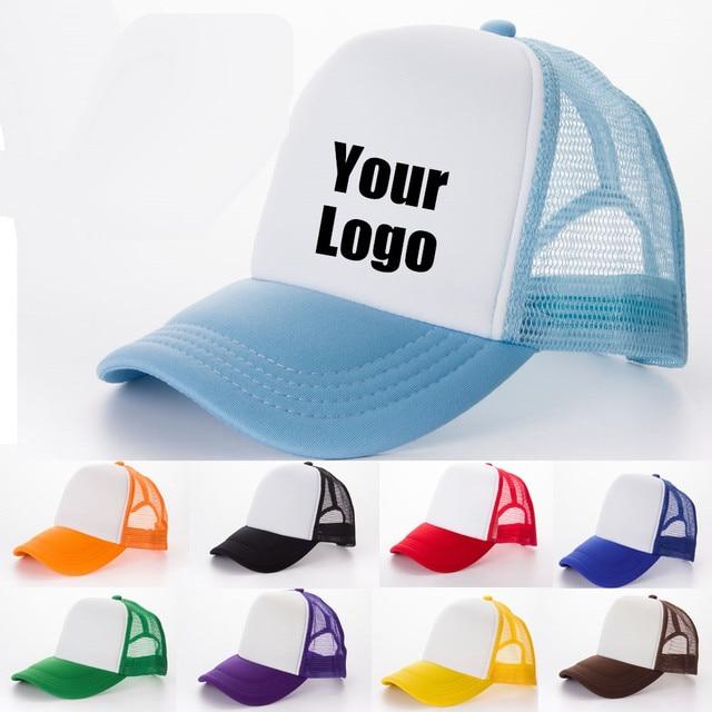 e81855507 US $23.9 19% OFF|Kid Custom LOGO Trucker Hats Snapbacks 5pc DIY Printed  Logo Mesh Baseball Caps Baby Boy Child Advertisement Promotion LOGO hat-in  ...