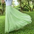 Gasa Maxi Faldas Mujer Bohemia Falda de La Playa de la Piso-longitud de Verano Plisado Riza Más El Tamaño XXXXL