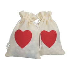 Burlap Drawstrings Linen Drawstring Storage Cloth Bag Red Love Gift Pouch10*15cm Pack of 50 Party Packaging Pouch