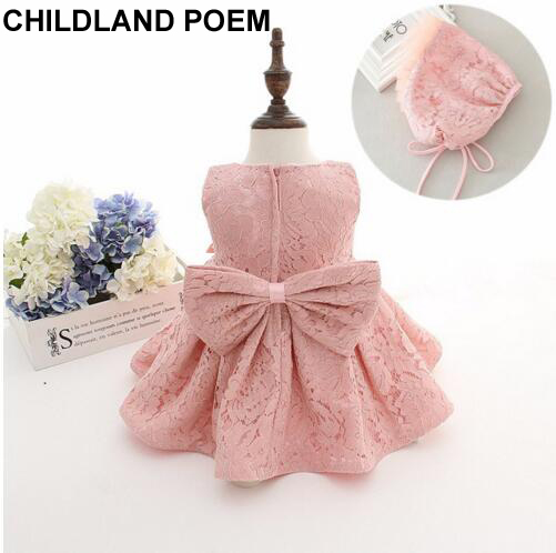 5f18b2908 newborn baby girls dress 1 year girl baby birthday dress baby girl  christening gowns princess lace baptism baby dress with hat