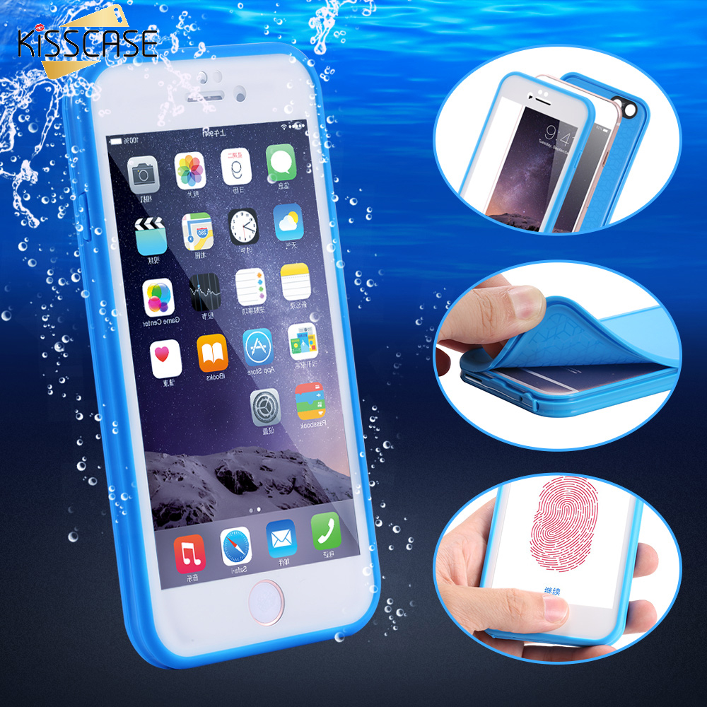 KISSCASE For iPhone 6 7 6S Plus Waterproof Case Underwater Swimming Diving Sealed Phone Cases For iPhone 6 7 Screen Touch Cover
