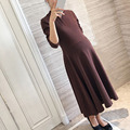 Newly Pregnant Women Dress Autumn Winter Long Sleeve Maternity Clothing Elegant Pregnancy Vestidos Wine Red