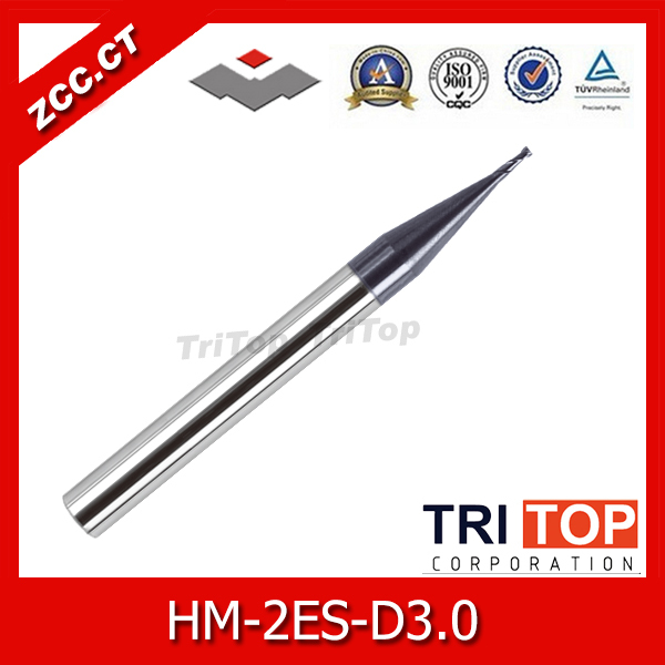 2pcs/lot ZCC.CT HM/HMX-2ES-D3.0 Tungsten solid Carbide End Mills HRC 68 milling cutter for high hardness steel machining