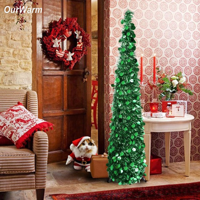 ourwarm new year artificial tinsel christmas tree 5ft pop up fake christmas tree christmas decorations for