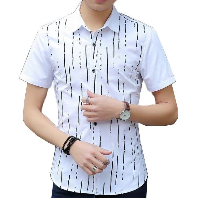 Moda Listrada Homens Camisa Roupas de Manga Curta 2016 Camisa Masculina Slim Fit Turn Down Collar Verão M-3XL Plus Size Chemise