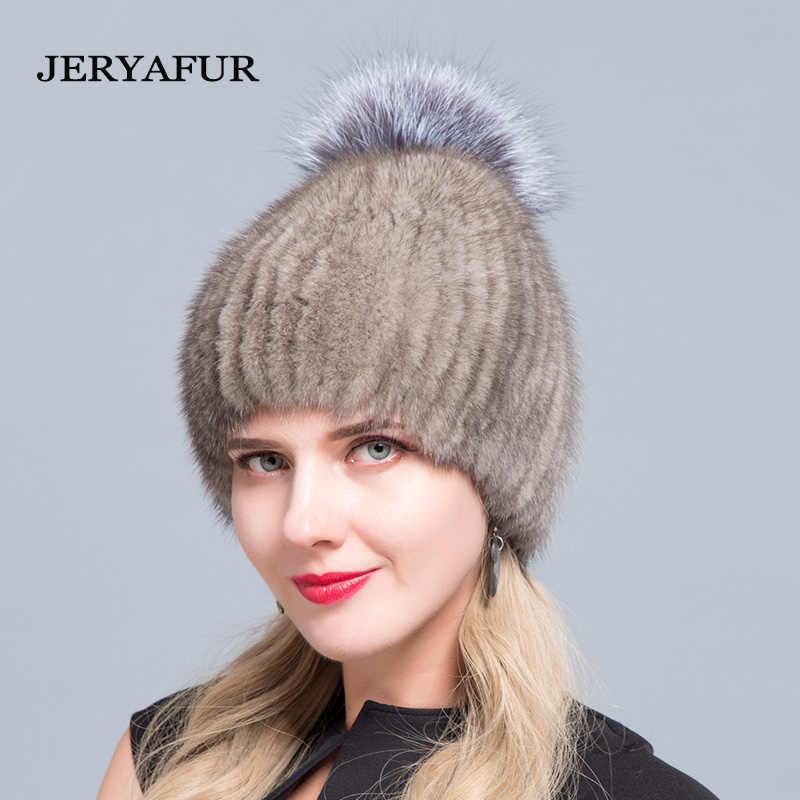 e509ebb80 JERYAFUR Mink Fur Fashion Fur Hat Silver Fox Fur Ball Knitted Cover Hat  Winter Women's Travel Ski Hat Knitted Inner Bile Fur HAT