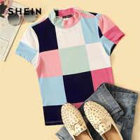 Shein mock-neck cor-bloco retalhos t camisa roupas femininas 2019 verão casual fino ajuste tshirt gola colorida senhoras topos