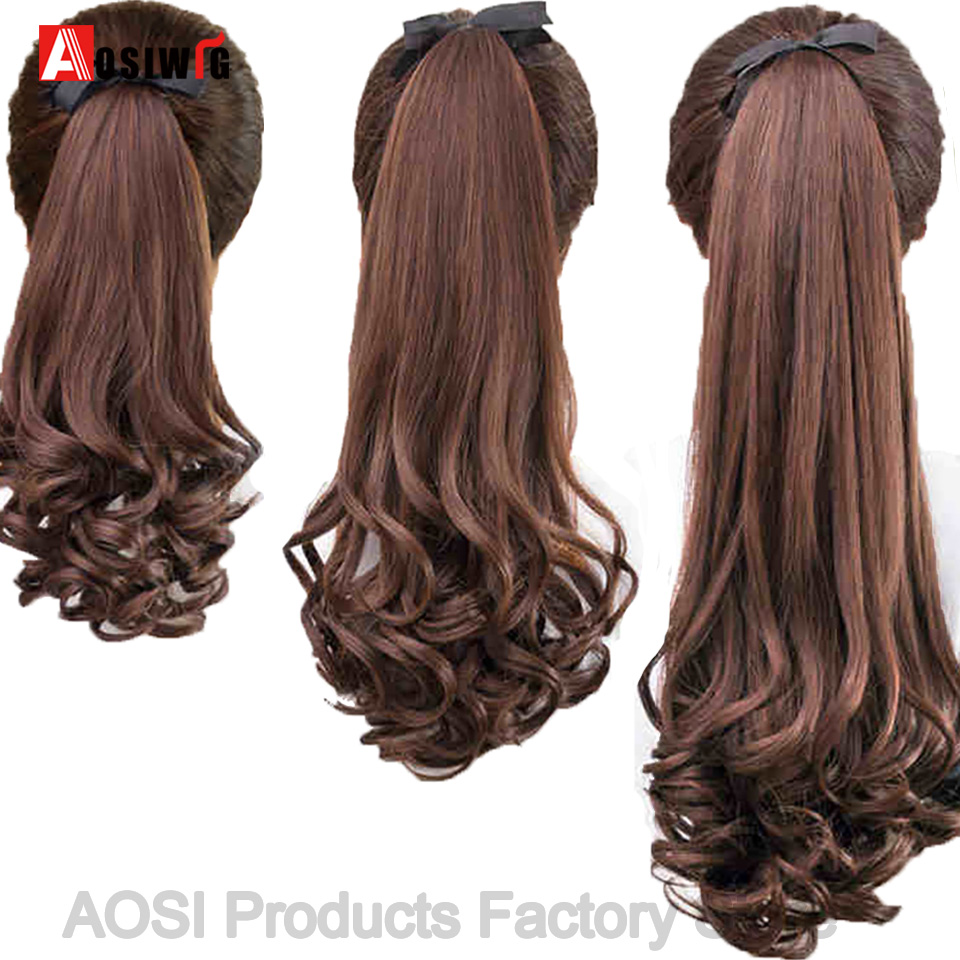 AOSI Long Curly Drawstring Ponytail Black Brown Synthetic Fake Hair Heat Resistant Hairpiece Clip In Pony Tail Extension Women