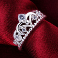 Hot Sale Fashion 925 Jewelry Silver Plated Ring,Fashion Silver Jewelry Cubic Zirconia Crown Rings Wedding For Women AR601