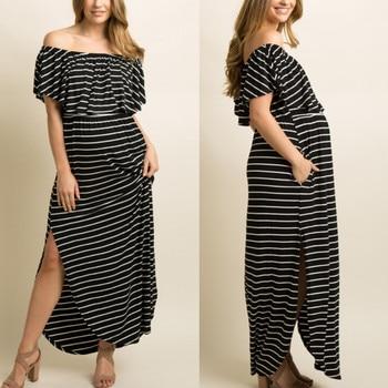 ad7e53391 MUQGEW vestidos de maternidad mujeres embarazadas de Shoulde embarazada  Maternidad de verano de rayas de volantes
