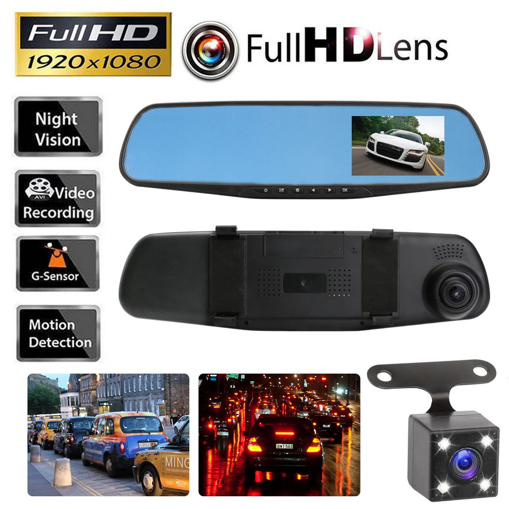 цены 2017 Car DVR Camera Rearview Mirror Auto Dvr Dual Lens Dash Cam Recorder Video Registrator Camcorder Full HD 1080p G sensor DVRs