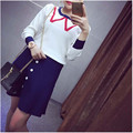 Fashion Women Sweater And Skirt Set Spring Autumn Tops+Short Skirts Europe Slim Long Sleeve Knitted Suit Twinset Women Clothing