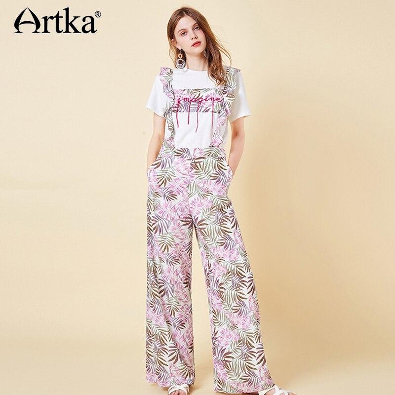 ARTKA 2019 New Women Floral Printed Long Pants Fashion Loose Bohemian Style Lady Overalls KA15099X