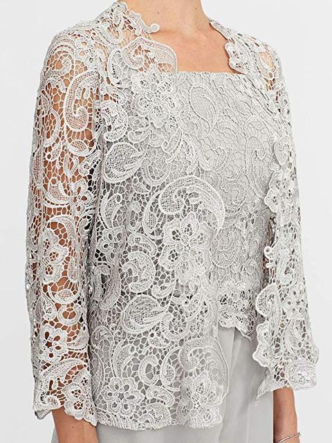 Elegant Gray Lace Mother of The Bride Pant Suit 2019 Plus Size Chiffon Formal Evening Dresses Long Vestidos De Madrina 3