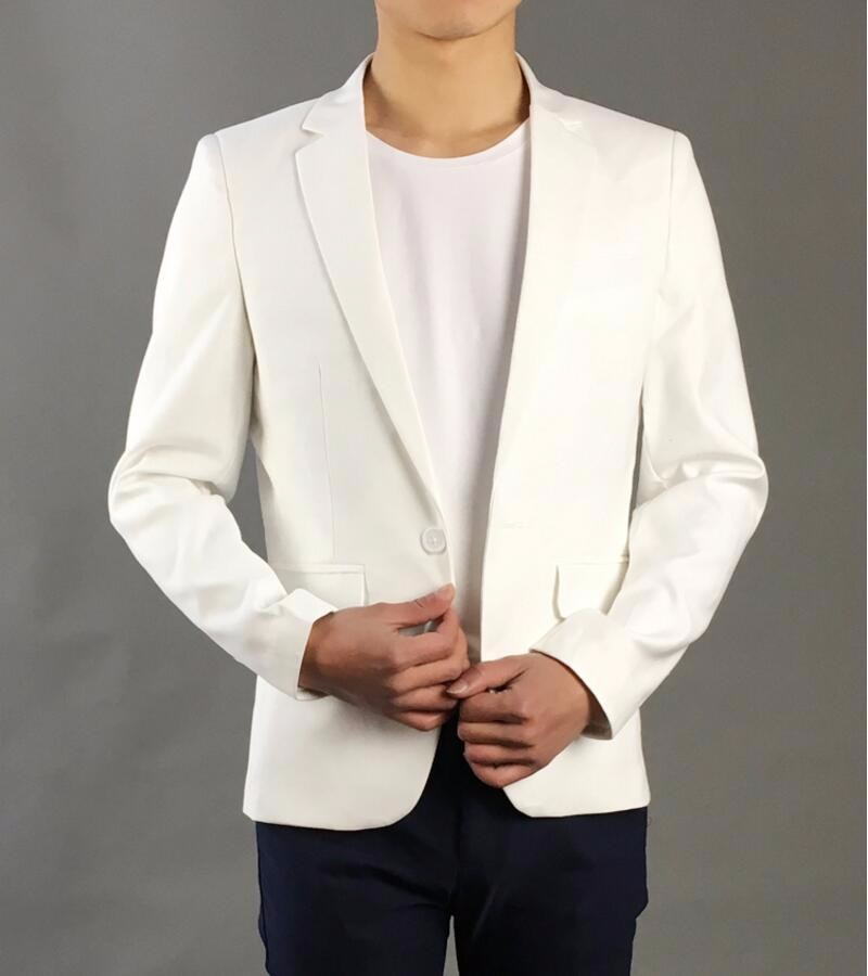 14.1 Autumn high quality men\'s suit jacket white wedding the groom business suit fashion trend coat suits formal occasions