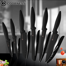 COOBNESS Kitchen Knives Professional Chef Knife Santoku Vegetable Slicer Knives Meat Sausage Cutter 3Cr13 Steel Black Knife Sets цена и фото