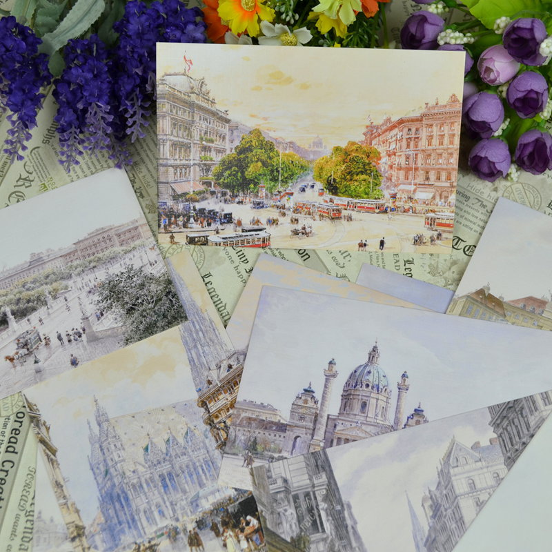 20pcs/lot = mix 10 designs = 2 sets,Europe Hand Painted Postcard Book Set / Greeting Card Assorted / Birthday Cards Lot