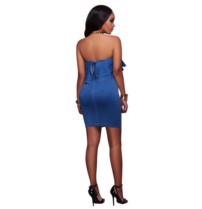 6f8e74056c5 2019 Strapless Ruffles Sexy Summer Bodycon Denim Dress Party Women Casual  Sheath Vestidos Evening Mini Jean Robe Ete Dresses-in Dresses from Women s  ...