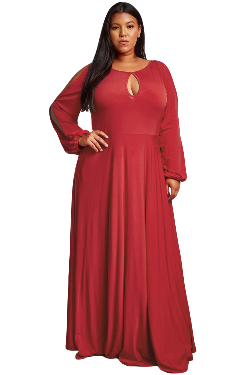 Red-Split-Long-Sleeve-Plus-Size-Maxi-Dress-LC610516-3-1