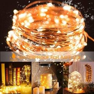 Image 5 - 2M 5M10M Dải Đèn LED Dây Đèn Cooper Dây 3AA Pin Giáng Sinh Ánh Sáng Cho Vòng Hoa Kỳ Nghỉ Cổ Tích Tiệc Cưới trang Trí