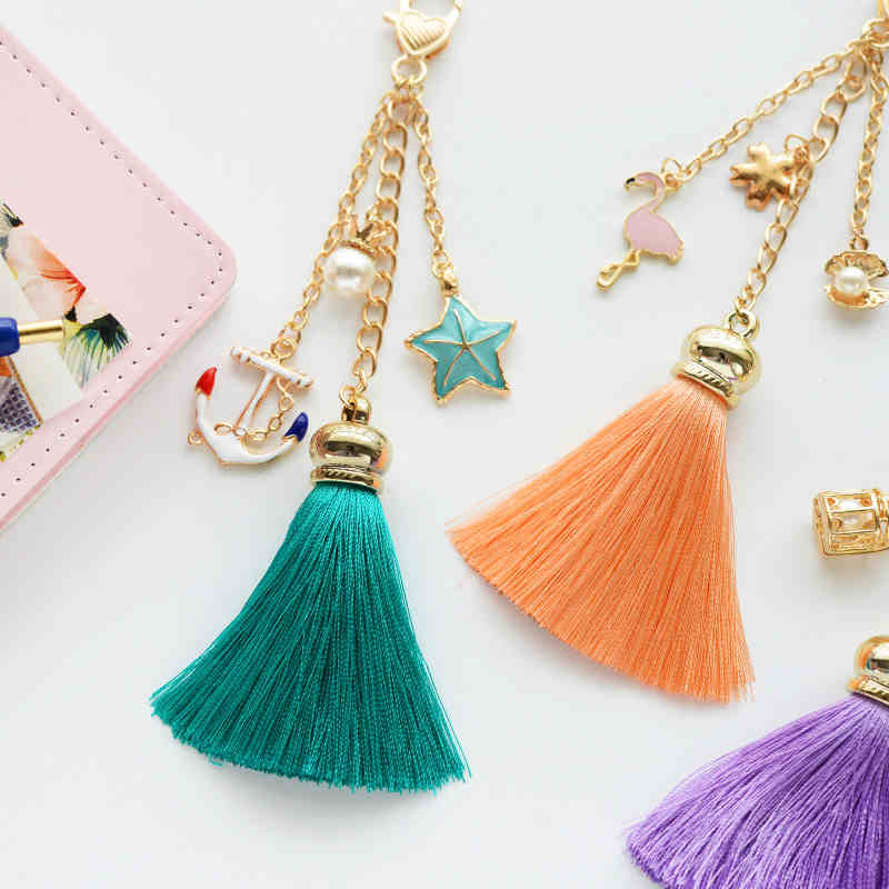 Lovely Tassel Keychain Handbag Pendant Bookmarks Spiral Loose Leaf Notebook DIY Decorate Accessory недорго, оригинальная цена