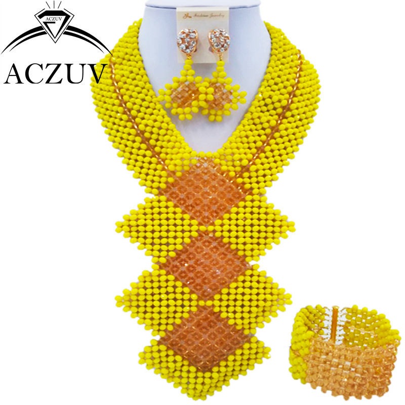 ACZUV Fashion Yellow and Gold African Jewelry Set for Women Nigerian Wedding Beads Necklace and Earrings CFKB001 chic rhinestone african plate shape pendant necklace and earrings for women