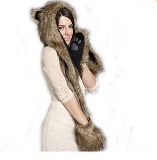 Женский/мужской зимний капюшон из искусственного меха, ушанки для животных, ручные карманы, 3в1, капюшон, шапка, волчий шарф с животными, перчатки, отправка в ближайшее время - Цвет: 7