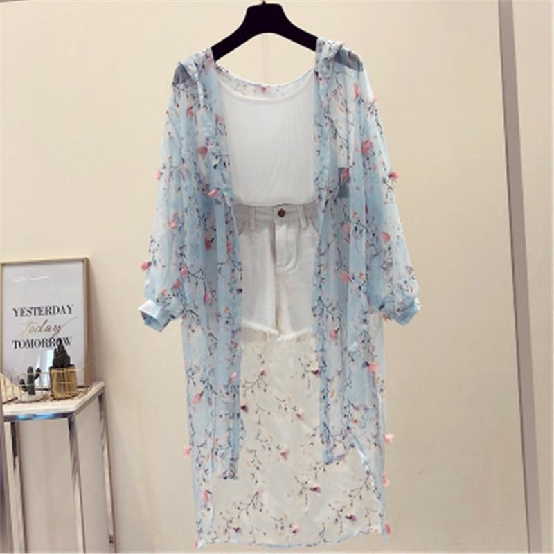 Sun Protection Women Clothing Print Female Coat Hoodies Long Section Summer New Loose Anti-UV thin Cardigan Women Coat T62