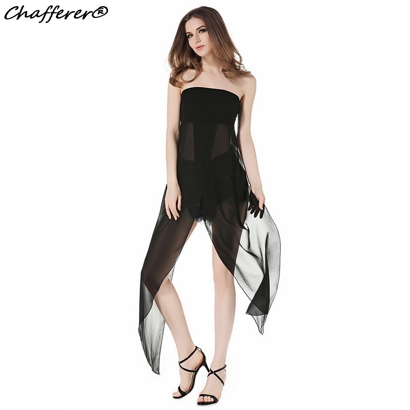 Chafferer Transparent Off Shoulder Sexy Lingerie Hot Erotic Pajamas Women Split Chiffon Dress Sexy Costumes Black