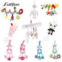 Fulljion Baby Rattles Mobiles Toys For Baby Toddler Toys Infant Bed Bell Animal Musical Mobile Newborn Stroller Doll 0 12 Months(China)