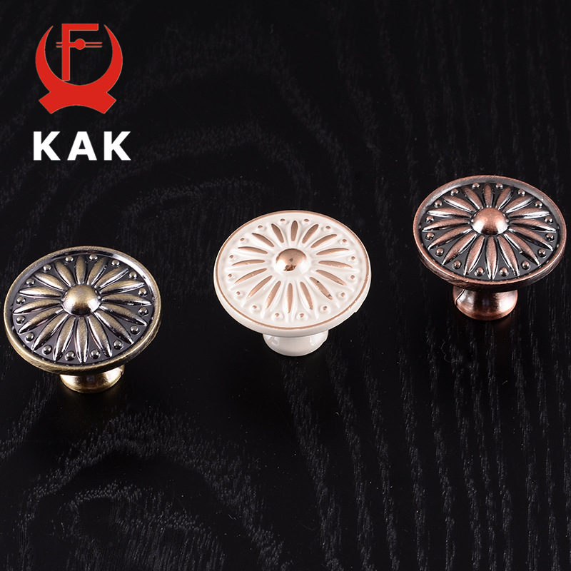 KAK Retro Red Bronze Kitchen Cabinet Knobs Cupboard Door Zinc Alloy Handles Vintage Wardrobe Furniture Handle Drawer Pulls