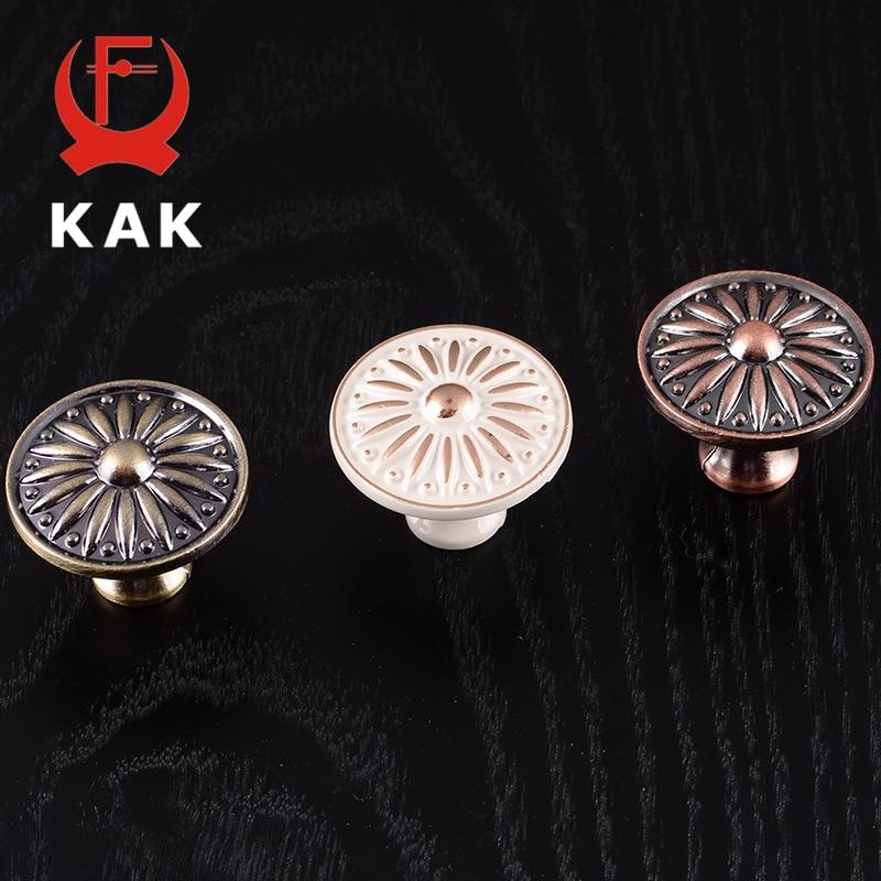 KAK Retro Red Bronze Kitchen Cabinet Knobs Cupboard Door Zinc Alloy Handles Vintage Wardrobe Furniture Handle Drawer Pulls