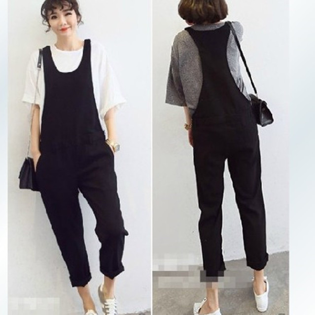 135be122a5d Free Shipping 2016 New Plus Size Customized XXXXL All-match Bib Pants  Jumpsuit And Rompers Casual Pants Black Cotton Women Pants