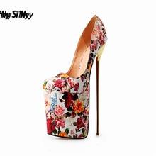 HSM Plus:40-47 48 49 50zapatos mujer Round Toe pumps Wedding Stiletto Platform 22cm ultra high Thin