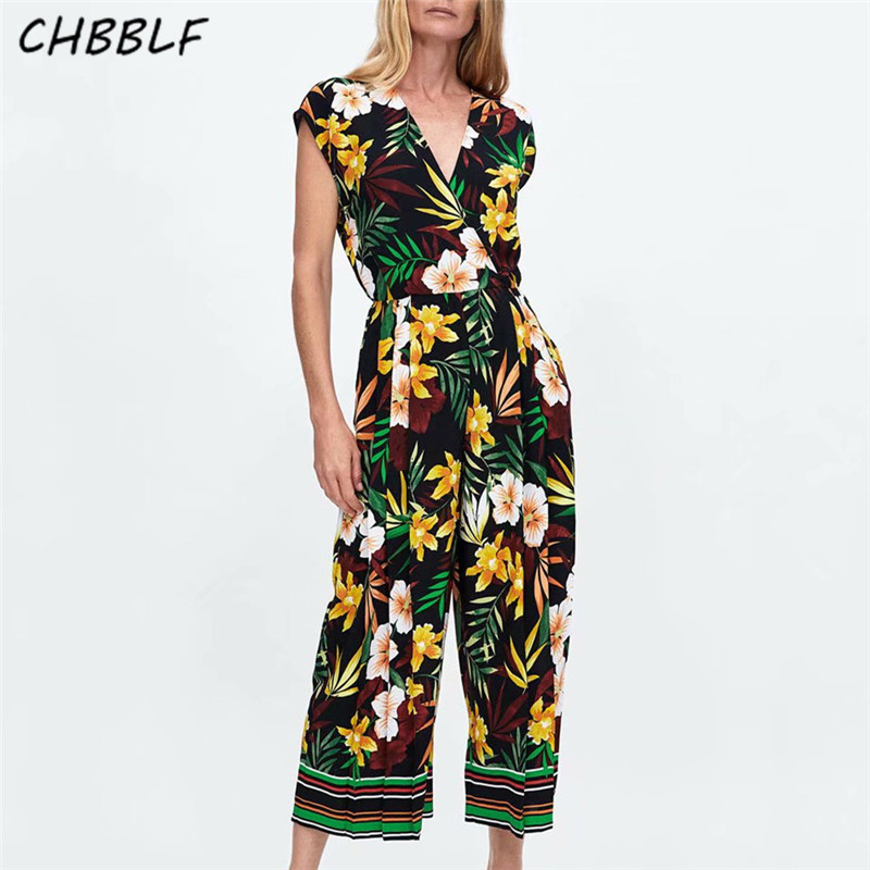 CHBBLF Women Elegant Floral Print Jumpsuits V Neck Sleeveless Rompers Female Casual Playsuits POP1335