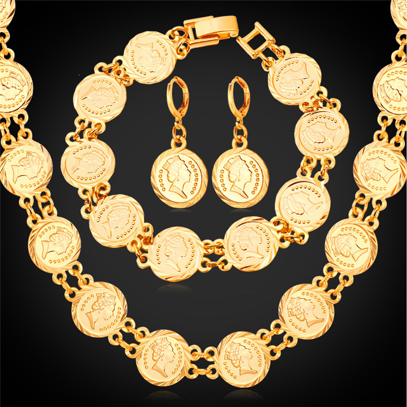 Queen head coin necklace bracelet earrings set women fashion queen head coin necklace bracelet earrings set women fashion jewelry vintage gold color jewelry set neh5157 in jewelry sets from jewelry accessories on aloadofball Image collections