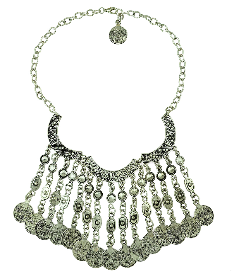 TBohemian Gypsy Love Affair Antalya Silver Coin Statement Fringe Turkish Bohemian Boho India Festival Necklace Earring Set