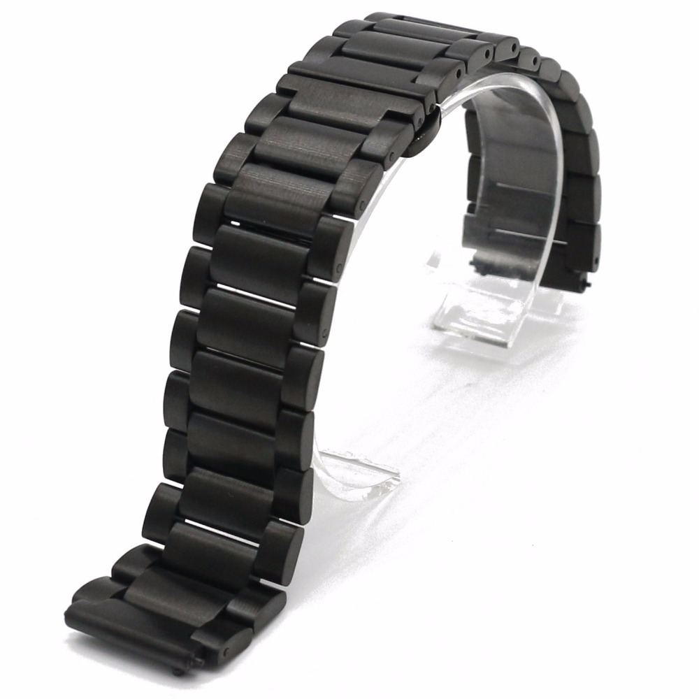 18mm New Black 316L Solid Stainless Steel Bracelet Wrist Watchband Strap Belt Double Push Clasp Released Spring bar for HUAWEI stainless steel watch band 24mm for sony smartwatch 2 sw2 pin clasp strap wrist loop belt bracelet black silver spring bar