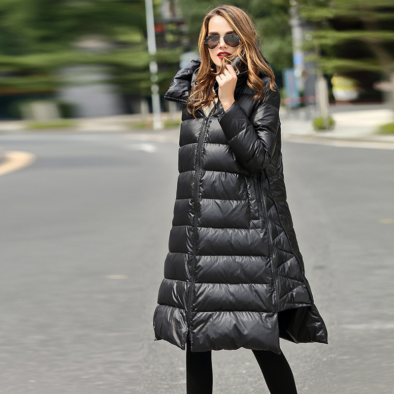 High Quality 2016 Italy Women Parka Winter Jacket Female X-Long White Duck   Down   Parkas   Coat   Thick Solid Hoody Winter   Down     Coats