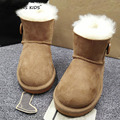 100% niños del invierno de lana de piel de piel de Oveja botas para bebés de piel verdadera botas de niños botas de nieve para niños de cuero real negro