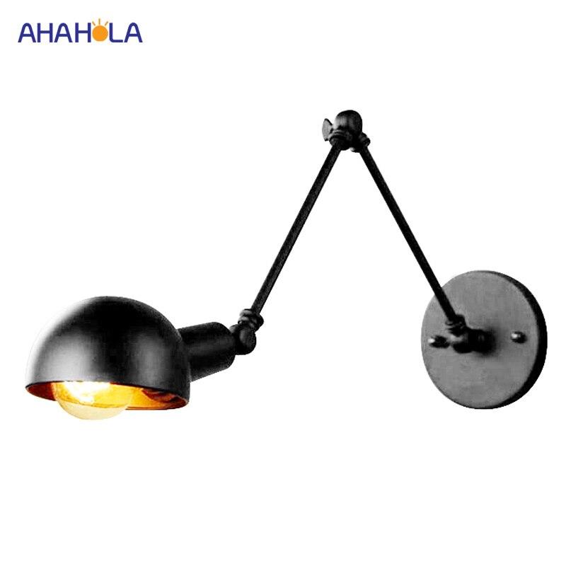 Industrial Vintage E27 Black Wall Lamp Lighting Arm Adjustable Nordic Retro Black Wall Lights for Bedroom Wall Lamp Loft Style