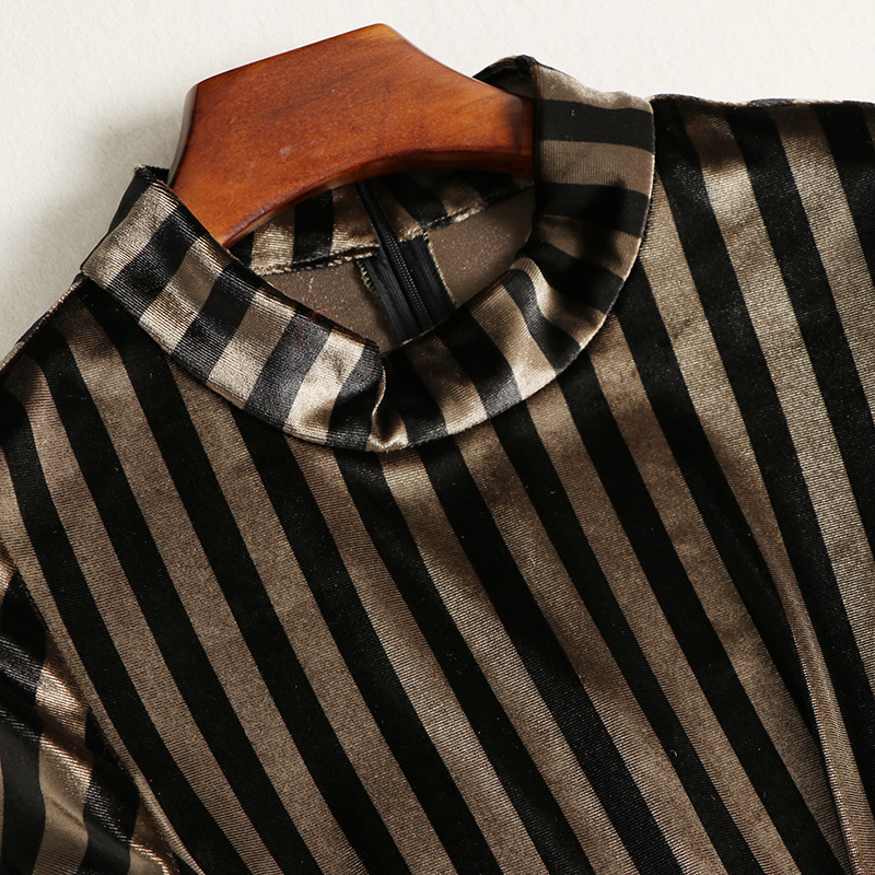5ae28d695fb97 US $70.03  spring autumn woman dress khaki black strip pattern velvet  pleated dress with rivet belt fashion vintage ankle length maxi dress-in  Dresses ...