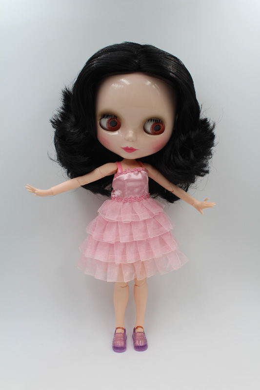Free Shipping BJD joint RBL-211J DIY Nude Blyth doll birthday gift for girl 4 colour big eyes dolls with beautiful Hair cute toy free shipping nude blyth doll black4 hair big eye doll for girl s gift pjb004